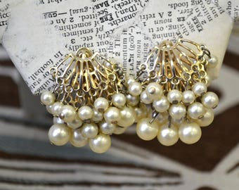 1960s Pearl Cluster Clip Earrings