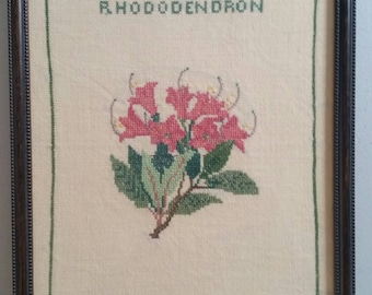 Adorable, Hand-Stitched Embroidery. Floral, Rhododendron, Pretty Frame, Under Glass.