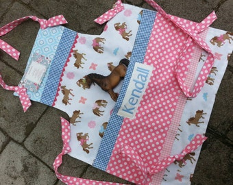 Girls Aprons - Girls Pony Aprons - Girls Horse Aprons - Pink Aprons - Blue Aprons - Annies Attic Aprons - Girls full Aprons - Full Aprons