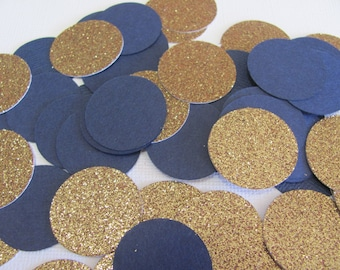 Navy and Glitter Gold Confetti, 1 Inch table confetti, Baby Shower confetti, Birthday Party Confetti, Bridal Shower