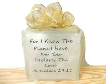 Glass Block Night Light, Bible Verse Home Decor, Jeremiah 29:11, Nursery Lighted Glass Block, Inspiring Decor & Accents, Unique Gifts