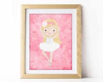 Ballerina Wall Art, Ballerina Painting, Ballerina Nursery Art, Pink Ballerina Art, Pink Ballerina Room Decor, Girls Pink Wall Art