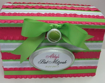 Special Birthday / Bat Miztvah Card Gift Box - Custom Initial Date Plaque