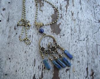 Choker necklace, lapis lazuli inspiration