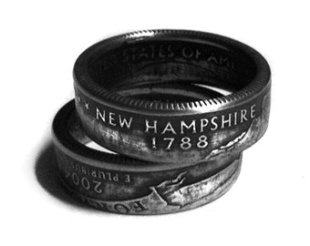 Handcrafted Ring made from a US Quarter - New Hampshire - Pick your size