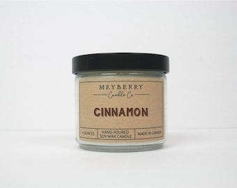 4oz Cinnamon Scented Candle, Hand Poured Soy Wax Candle, Meyberry Candles, Unique Gift, Gift for Mom, Soy Candles