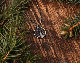 Wilderness Night Necklace | Pine Trees | Moonlight | Nature | Camping |Hiking | Bridesmaid