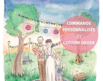 Custom illustration for wedding invitations