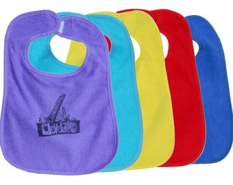 TerryCloth Bib with Cleveland Bridges Design (Lavender, Teal Blue, Yellow, Red, Blue, or White)