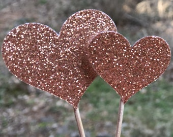 12 Rose Gold Sparkle Heart Cupcake Toppers Cake Toppers Wedding Cake Decorations Food Picks Appetizers