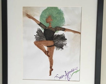Watercolor: Black Ballerina
