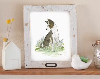 Dog Art, Dog Nursery Art, Dog Lover Gift, Dog Portrait, Children's Art, Watercolor Dog Art, Dog Painting, Pet Portrait, Husky Art, Dog Print