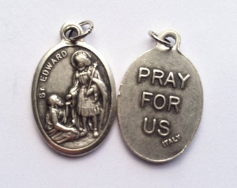 St. Edward the Confessor holy medal -- Catholic Saint, king of England - patron of difficult marriages, separated spouses, English royals