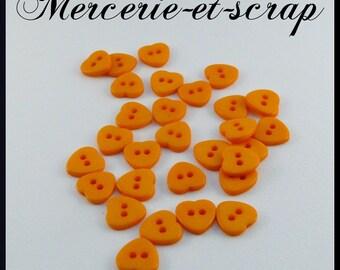 Orange 10mm layette set 6 heart 2 hole buttons