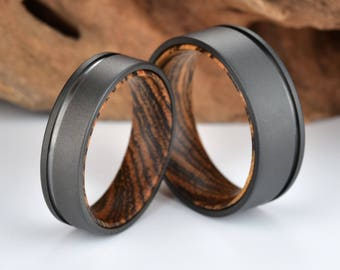 Mens Wedding Ring Bocote Mens Wedding Band Gun Metal Grey Titanium Ring Bocote Wood Wedding Band Wedding Ring By Pristine