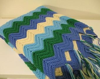 Chevron Blanket Afghan THROW, Zig Zag Blue Green Teal  65 by 40 Nursery Crib BLANKET in a Zig Zag Hand KNIT Pattern,Soft Washable Warm