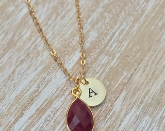 Birthstone-initial-necklace, Ruby Necklace, July birthstone, gold birthstone necklace, Custom Birthstone Necklace, Cancer zodiac jewellery