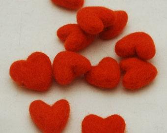 3cm 100% Wool Felt Hearts - 10 Count - International Orange