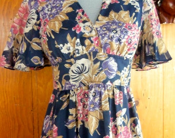 70s FLORAL TEA DRESS--Maxi--Cotton Voile--Self-Belting--Romantic--Pink Flowers on Navy--Size 8