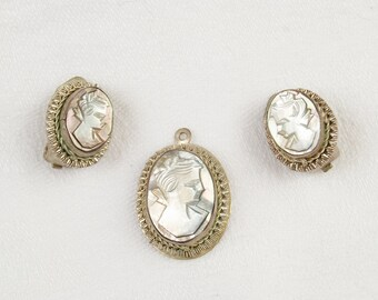 SALE WERE 100 Cameo Brooch and Earrings 800 Silver SALE was 125