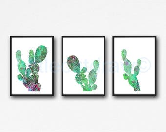 Cactus Print Wall Art Set Of 3 Cacti Watercolor Painting Cactus Art Print Watercolor Print Nature Print Living Room Wall Decor Art Print