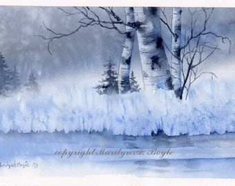 WINTER - ORIGINAL WATERCOLOR; wall art, Canadian art, river bank, birches, blue color, 7 x 10 inches