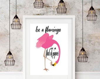 Pink Flamingo, Funny Quotes, Printable Wall Art, Tropical, Bedroom Decor, Instant Download