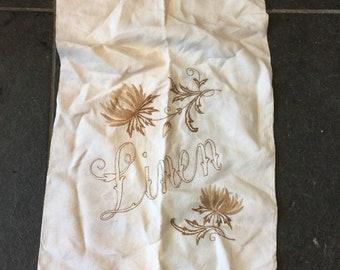 Vintage Embroidered Linen Bag LINEN BAG 46CM X 83CM