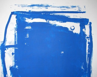 Abstract Minimal Blue No.0023 Ink on Paper 24x18 Modern