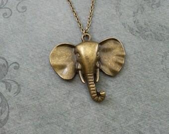 Elephant Necklace Elephant Jewelry Elephant Pendant Elephant Charm Necklace Elephant Gift Bronze Necklace Bridesmaid Necklace Boho Jewelry