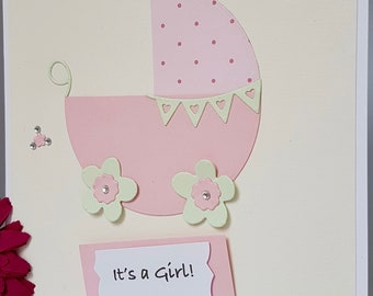 Personalised It's a Girl Boy New Baby Arrival New Born Christening Shower Card Pram Buggy Pink Blue Handmade NB20