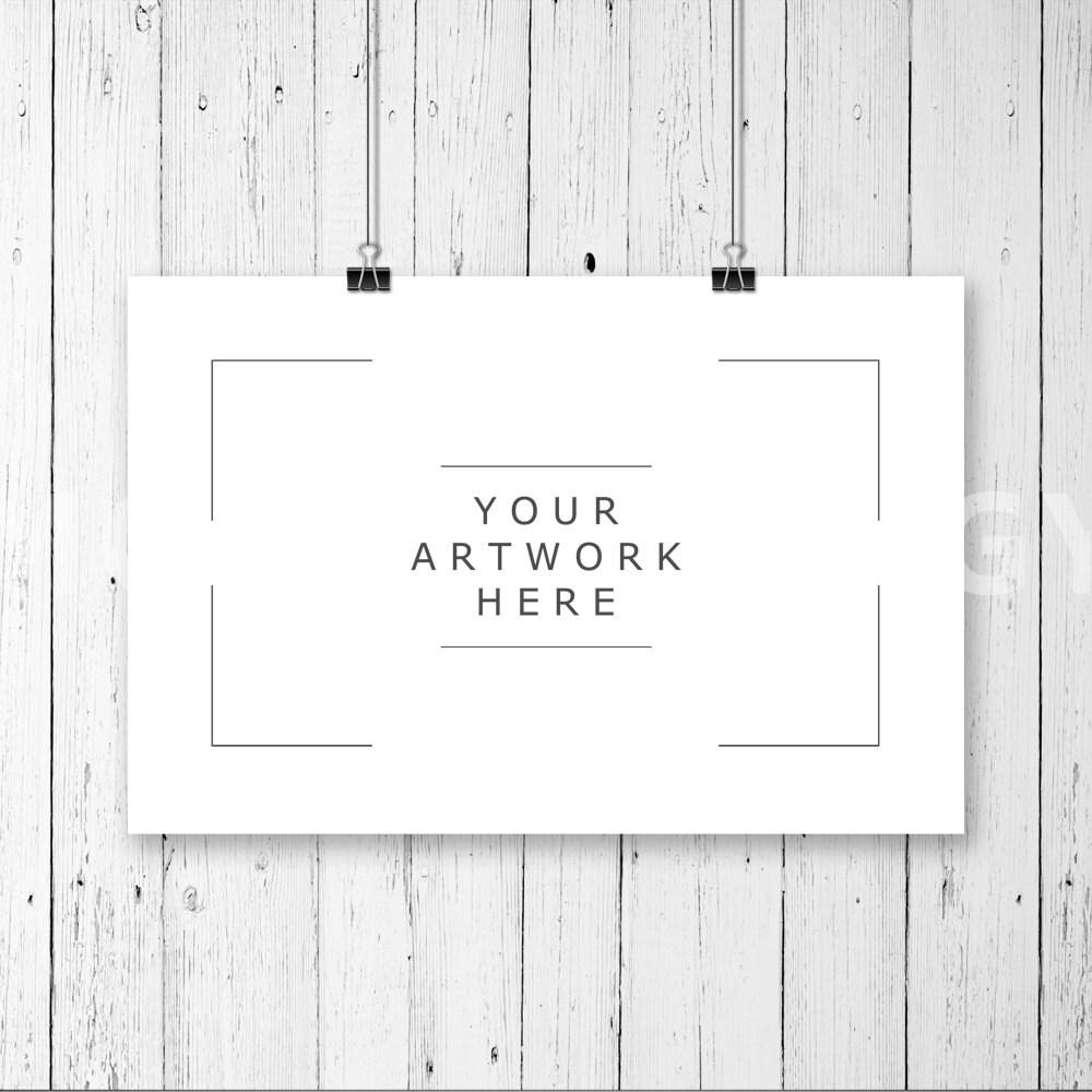 8 x 12 horizontale hängende Papier Mockup Frame-Büroklammern