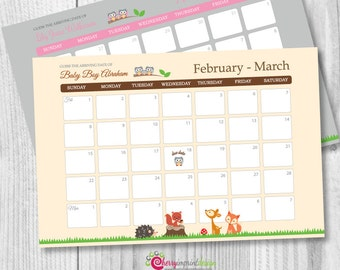 Woodland Forest Guess the Due Date Calendar - Baby Shower Birthday Prediction - DIY (PDF or JPEG)