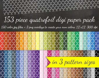80% OFF SALE Quatrefoil Digital Scrapbook Paper Pack - 3 Quatrefoil Pattern Sizes 150 Pieces & 3 Overlays - Digital Scrapbooking Paper