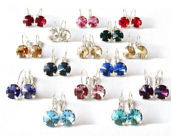 Crystal Earrings, Swarovski Earrings, CHOOSE COLOR, Crystal Earrings for Women, Silver Earrings, Drop Earrings, Gift for Woman, Gift for Her
