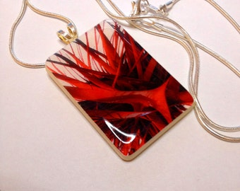 Red Fracture Game Tile Pendant Abstract Pendant  Repurposed Game Tile Jewelry Item 1874
