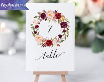 Printed Burgundy Floral Wreath Table Number Cards, Physical item, Fast shipping, 4x6'' 5x7'', Rustic Wedding Reception Table Number Sign #01