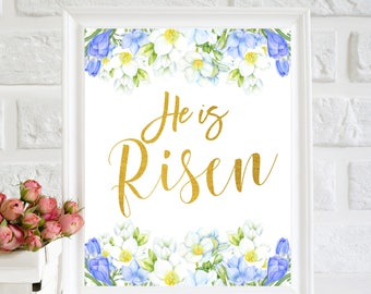 He Is Risen Print, Easter Printable, Easter Wall Art, Easter Home Decor, Spring Wall Art, Watercolor Flowers,Easter quotes, Bible Verse art