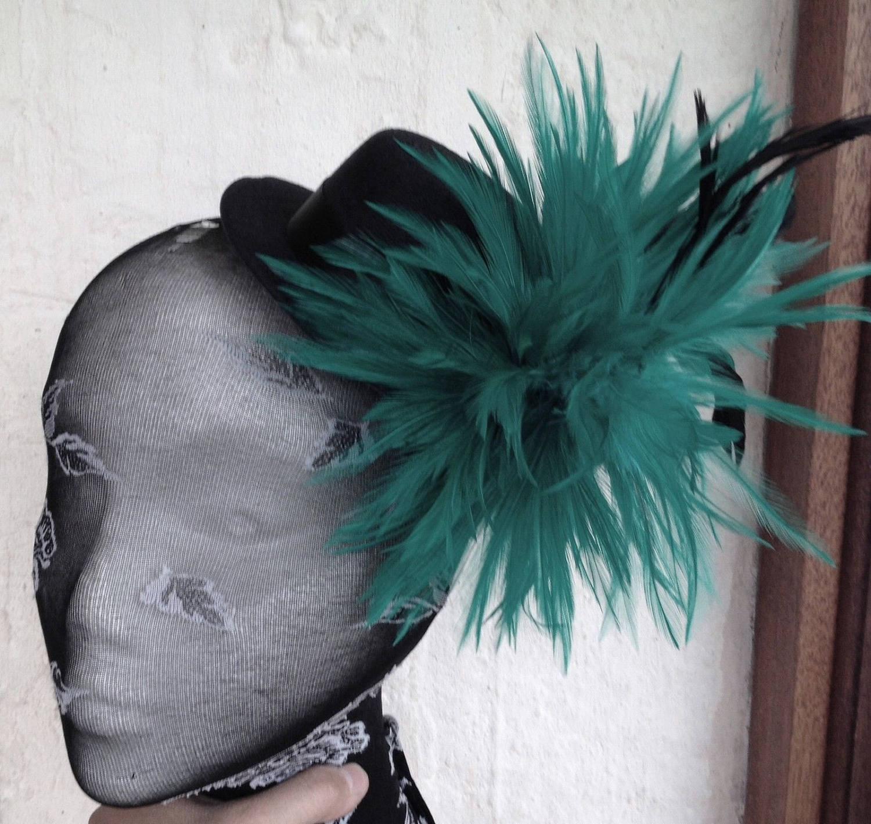 green feather flower black mini top hat fascinator millinery ...