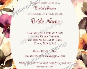 Bridal Shower Invitation - Full Floral