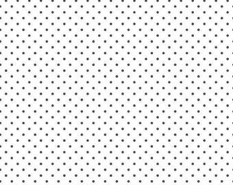 ON SALE Riley Blake Basic Steel Swiss Dots on White