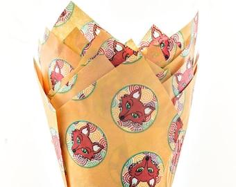 Fox Print Muffin Tulip Wraps x24