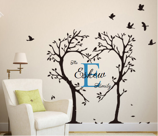 Large Family Tree Wall Decal, Family Tree, Monogram Tree, Love Tree, Love  Monogram, Monogram Wall Decal, Tree Monogram, Custom Wall Decal