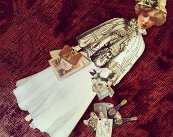 1890 VINTAGE VICTORIAN BRIDE Digital Paper Doll Collage Sheet Digital Download