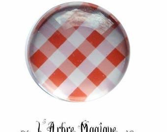 2 cabochons glue gingham orange glass 20 mm M59