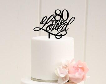 80th Birthday Cake Topper 80 Aos de amor Spanish Birthday