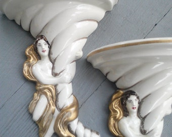 Vintage Art Nouveau Goddess Ceramic Wall Sconces / Set of 2 /Hollywood Regency / Vintage Home Decor / From McCurdy's Depatment Store