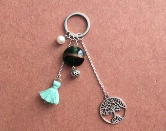 Bag charm - blue/green Pompom keychain