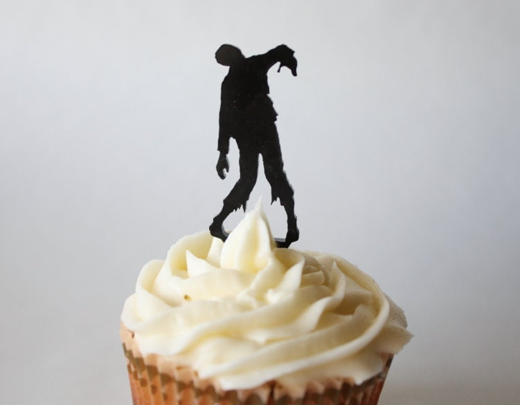 12 Zombie Cupcake Toppers Acrylic from ThickandThinDesigns on Etsy