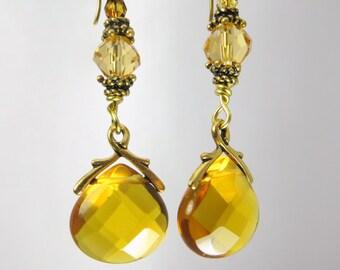 Gold Faceted Briolette Quartz Drops Earrings on 22k Gold Vermeil wires